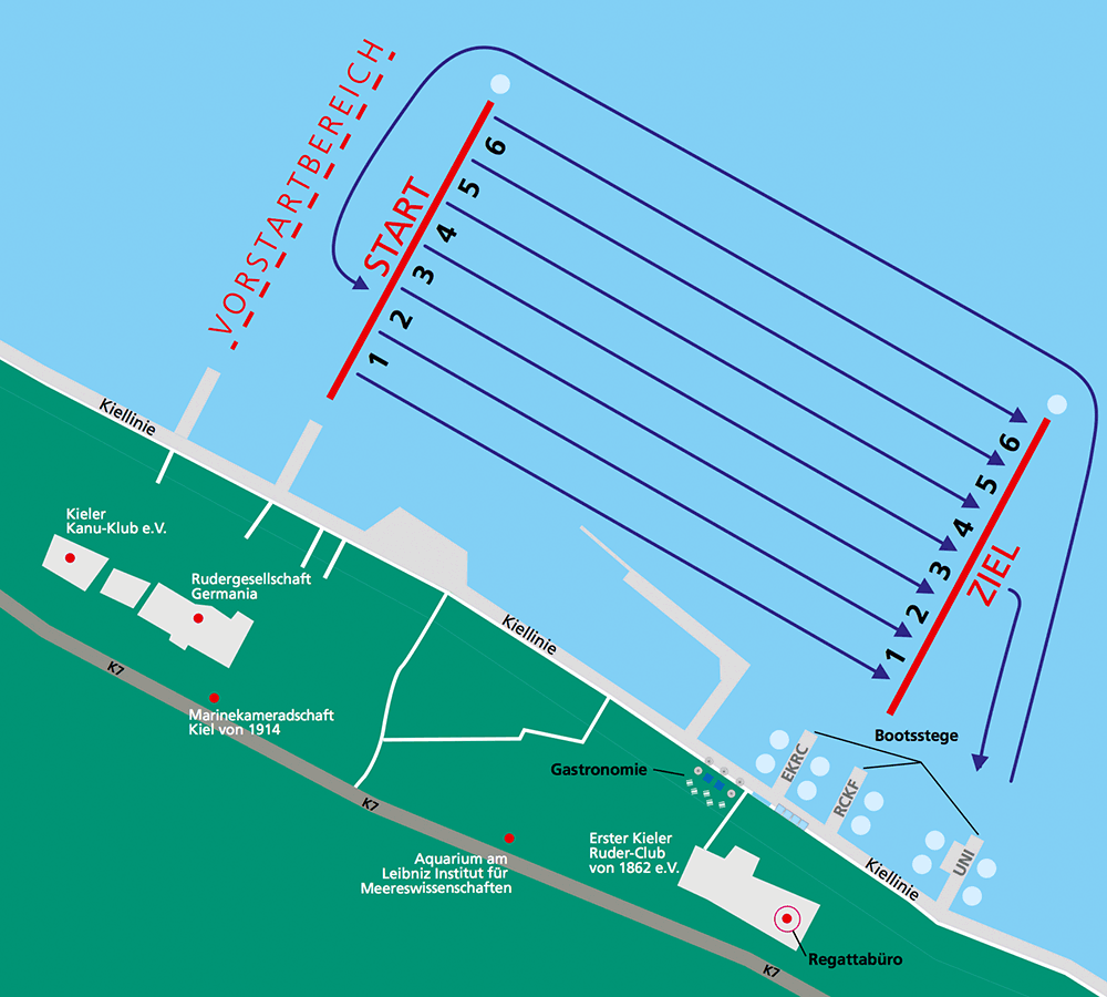 Fahrtordnung Rudern gegen Krebs in Kiel am 31. Mai 2014