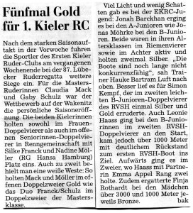 Quelle: Kieler Nachrichten 7.5.15, Lokalsport Seite 29