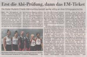 Quelle: Kieler Nachrichten vom 15.05.15, Seite 28