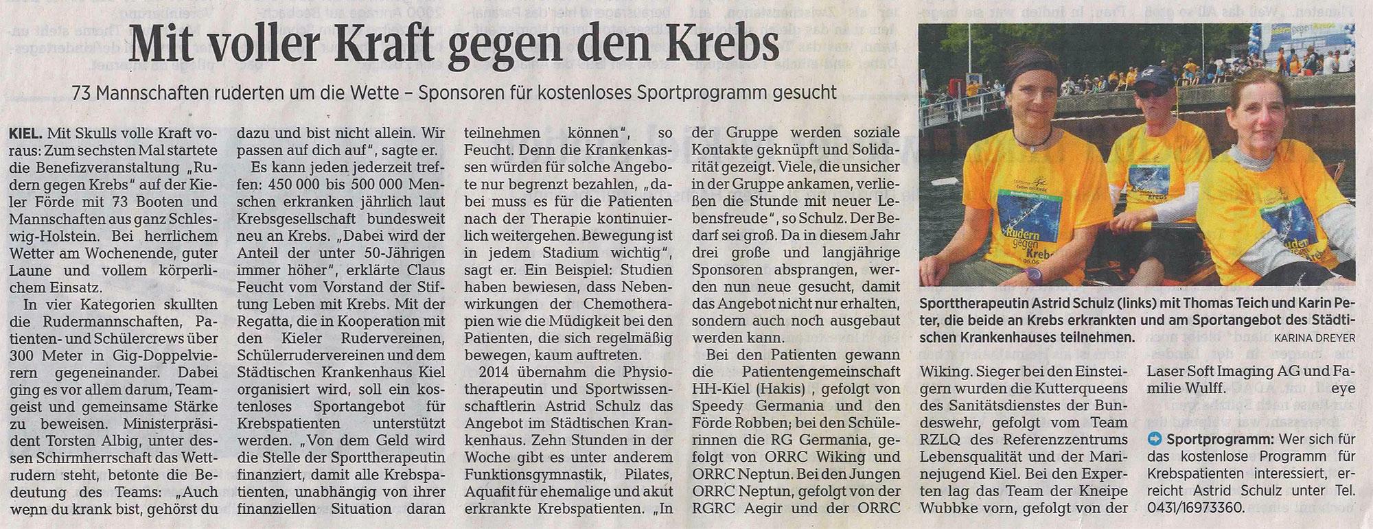 Kieler Nachrichten, 8. Juni 2015, S. 16