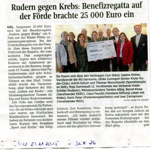 Rudern gegen Krebs - Scheckübergabeaus: Kieler Nachrichten vom 27.11.2015 Seite 26