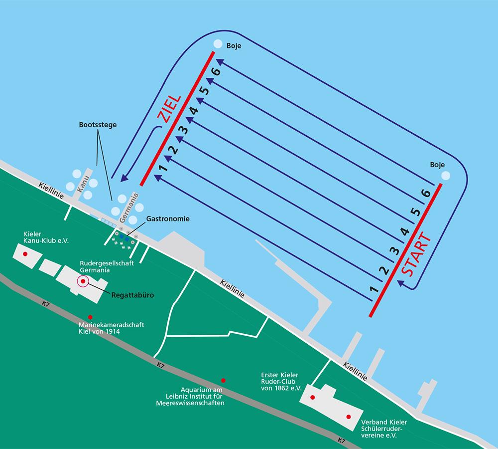 Fahrtordnung Rudern gegen Krebs in Kiel 2016