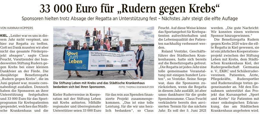 """33000 Euro für """"Rudern gegen Krebs"""", Quelle: Kieler Nachrichten"""