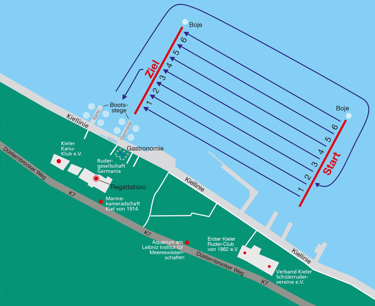 Fahrtordnung Rudern gegen Krebs in Kiel